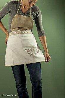 Iné oblečenie - Kuchynská hnedo-biela zástera s ružou (007) - 1936110
