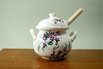 Nádoby - Nádoba na med s vrtieľkom 250ml - fialky - 1937787