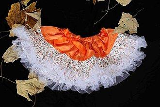 Detské oblečenie - oranžová tutu sukňa s jemnými kvietkami - 1939439