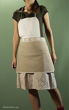 Iné oblečenie - Kuchynská zástera bielo-hnedá (007) - 1939681