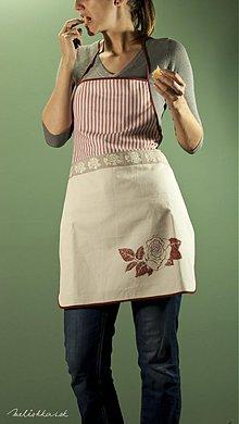 Iné oblečenie - Kuchynská zástera bordová s ružou, hrubý pásik (003) - 1939709