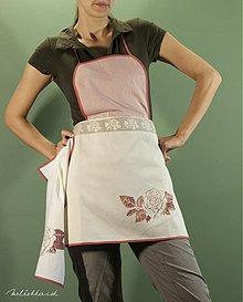 Iné oblečenie - Kuchynská zástera oranžovo-hnedá s ružou, tenký pásik (008) - 1939777