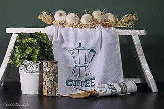 Úžitkový textil - Ľanová utierka COFFEE zeleno bežová (004) - 1939942