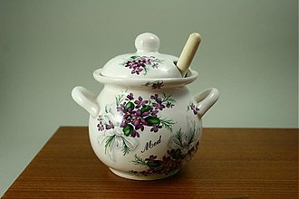 Nádoby - Nádoba na med s vrtieľkom 450 ml - fialky - 1944669