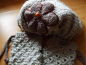 Detské čiapky - Béžovosivá baretka a vzorované štucne - 194668