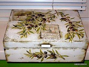 Krabičky - Provensálsky olivová krabica na čaj - 195828