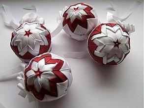 Dekorácie - Vianočné gule - bielostriebornobordové - 1984113