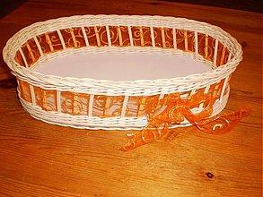 Košíky - Ovál s oranžovou mašľou - 1988643