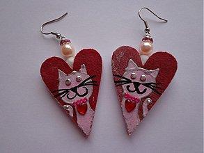 Náušnice - Náušničky srdiečkové s mačičkou :) - 1989319
