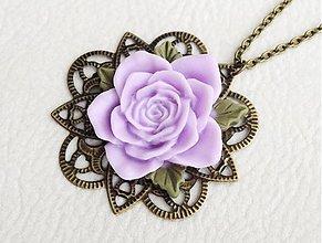 Náhrdelníky - fialový kvet v bronzi - 1992238