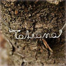 Náhrdelníky - Náhrdelník s menom z postriebreného drôtu: 6-8 písmen (Tatiana) - 1995896