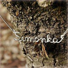 Náhrdelníky - Náhrdelník s menom z postriebreného drôtu: 6-8 písmen (Simonka) - 1995909