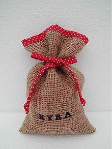 Úžitkový textil - Mikulášske vrecúško z vrecoviny s menom - červená - 2008449