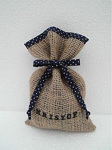 Úžitkový textil - Mikulášske vrecúško z vrecoviny s menom - modrá - 2008465