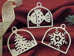 Dekorácie - Set vianočných ozdôb - Rybka, stromček, vločka (D5) - 2010761