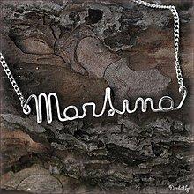 Náhrdelníky - Náhrdelník s menom z postriebreného drôtu: 6-8 písmen (Martina) - 2030046