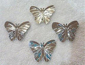 Galantéria - Flitre motýlik 22x29mm-20ks (strieborná) - 2032633