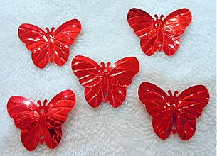 Galantéria - Flitre motýlik 22x29mm-20ks (červená) - 2032644