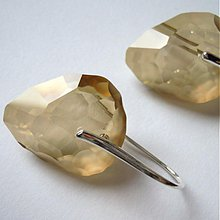 Náušnice - crystal golden shadow rock - 2035684