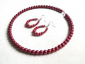 Sady šperkov - set červené perly - 2041389