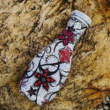 Dekorácie - Fľaša červené kvetiny - 2056891