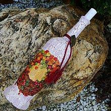 Dekorácie - Fľaša jesenný veniec - 2056944
