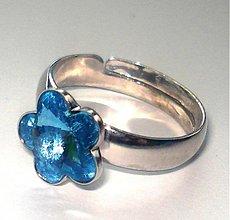 Prstene - Swarovski kvietky Aquamarine - prsteň - 2057438