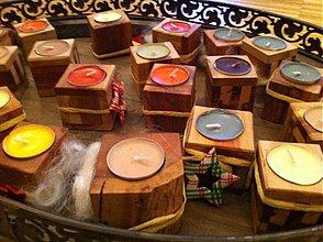 Svietidlá a sviečky - drevený svietniček na kahanec - 2058760