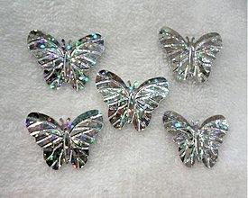 Galantéria - Flitre motýlik 22x29mm-20ks (hol.strieborná) - 2058869