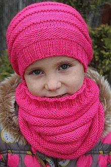 Detské čiapky - Skladom-Pletená čiapka a nákrčník - 2068631
