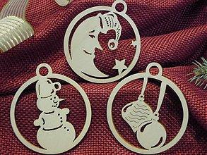 Dekorácie - Vianočné ozdoby - Mesičik, snehuliak, vianočné gule (O2) - 2071658