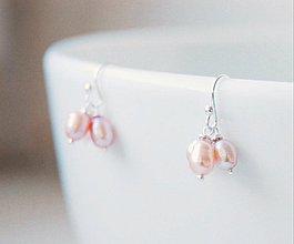 Náušnice - Náušnice ružové perly - 2073105