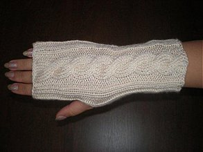 Rukavice - Ručne pletené rukavice-smotanové - 208105