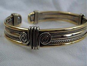 Šperky - Rastislav - náramok - mosadz a alpaka - 2095438