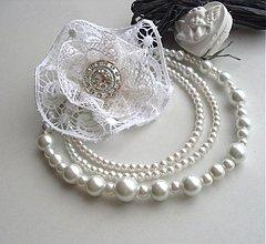Náhrdelníky - Pre ľadovú kráľovnú (náhrdelník + brošňa) - 2100991
