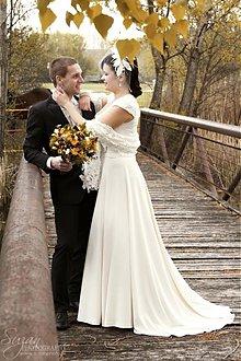 Šaty - elegantné krajkové svadobné šaty /krémové - 2122917