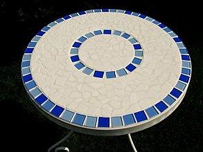 Nábytok - Mozaikový stolík Bielo - modrý predaný - 2123517