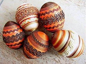 Dekorácie - Sada oranžovo-hnědých vajíček - 2123944