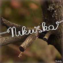 Náhrdelníky - Náhrdelník s menom z postriebreného drôtu: 6-8 písmen (Nikuška) - 2125340