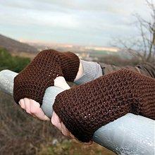 Rukavice - Tmavohnedé rukavice bez prstov - 2126421
