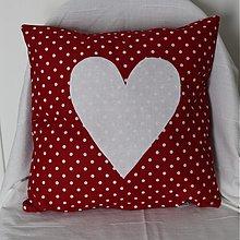 Úžitkový textil - Obliečka Bodkované srdce červené - 2136537