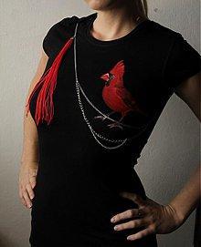 Tričká - Maľované tričko červený vták - 2140711
