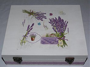 Krabičky - Čajová krabica - 12 priečinkov - motív Levanduľa II. - 2145230