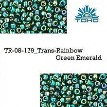Korálky - T913 TOHO rokajl 8/0 Trans-Rainbow Green Emerald, 10 g - 2154725