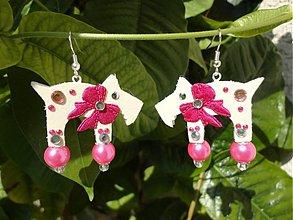 Náušnice - Náušnice havkovia s ružovou mašličkou:) - 2158933