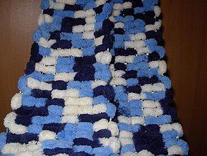 Šály - Nebíčkový bambuľkový šál - skladom - 2162817