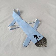 Doplnky - Hedvábná kravata s běžcem modro-černá - 2172145