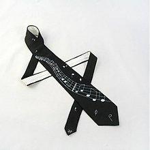 Doplnky - Černá hedvábná kravata s notami a notovou osnovou - 2172148