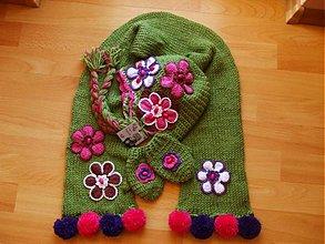 Detské čiapky - Zelená s malinovo-fialovou... - 217358
