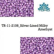 Korálky - 654-T101 TOHO rokajl 11/0 Silver-Lined Milky Amethyst, 10 g - 2174923